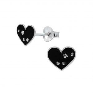 Wholesale Silver Paw Print Heart Stud Earrings