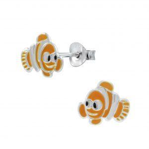Wholesale Silver Clown Fish Stud Earrings