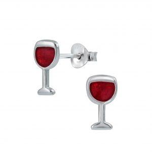 Wholesale Silver Wine Stud Earrings