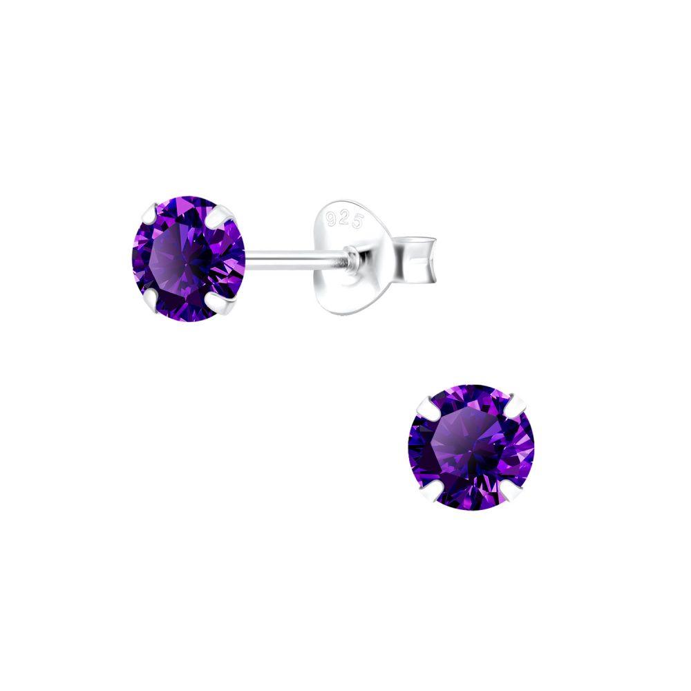Wholesale 5mm Round Cubic Zirconia Silver Stud Earrings