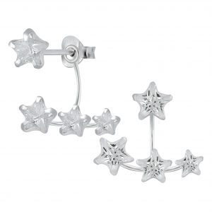 Wholesale Silver Stars Cubic Zirconia Ear Jackets