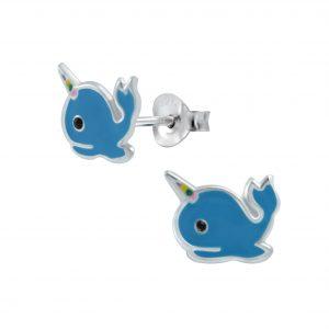 Wholesale Silver Whale Corn Stud Earrings