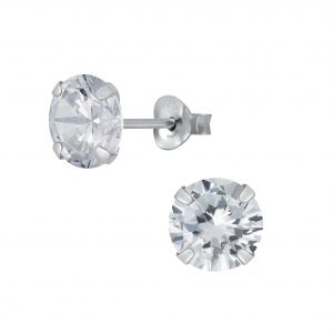 Wholesale 7mm Round Cubic Zirconia Silver Stud Earrings