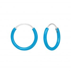 Wholesale Silver Blue Hoop Earrings