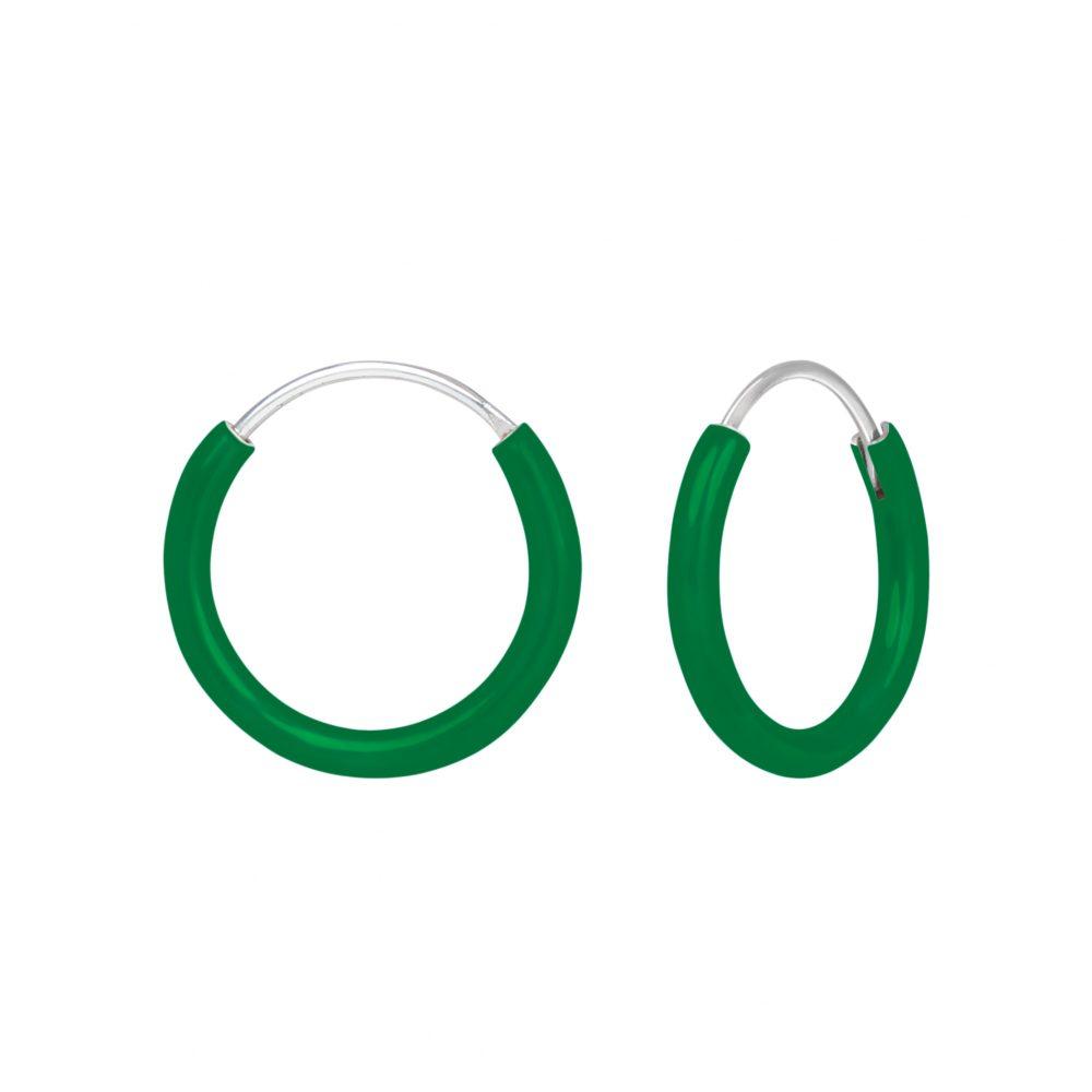 Whole Silver Green Hoop Earrings