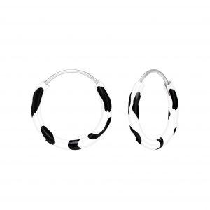 Wholesale Silver White And Black Hoop Earrings