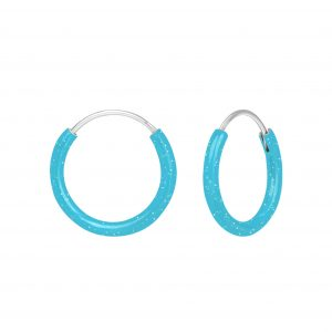 Wholesale Silver Light Blue Hoop Earrings