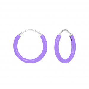 Wholesale Silver Purple Hoop Earrings