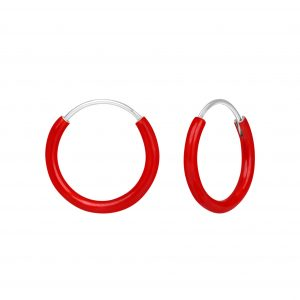 Wholesale Silver Red Hoop Earrings