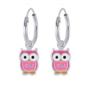 Wholesale Silver Owl Charm Hoop Earrings