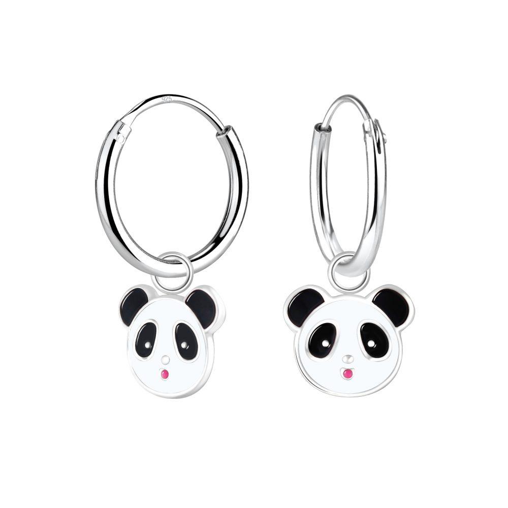 Wholesale Silver Panda Hoop Earrings