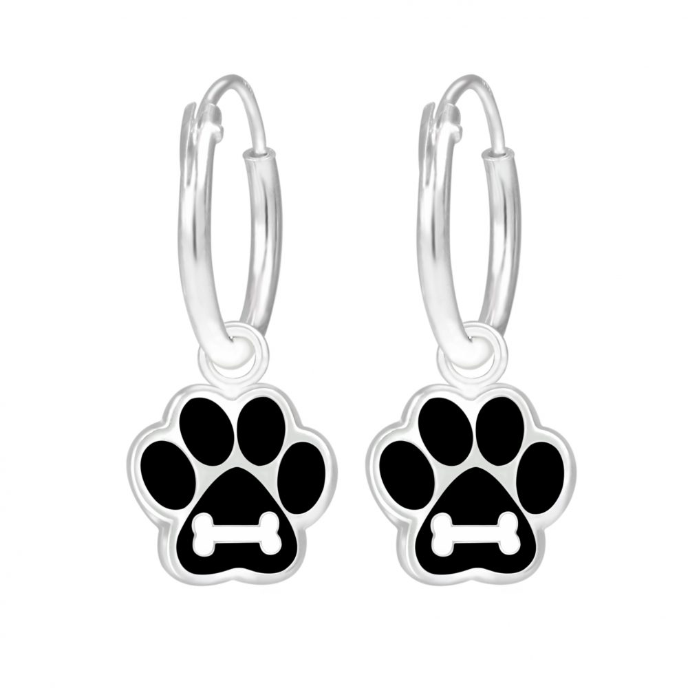 Wholesale Silver Paw Print Hoop Earrings