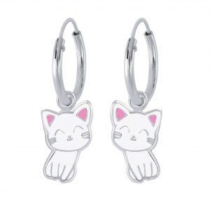 Wholesale Silver Cat Charm Hoop Earrings
