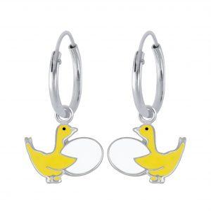Wholesale Silver Goose Hoop Earrings