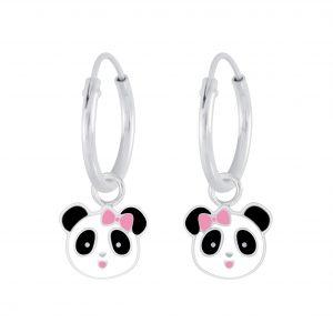 Wholesale Silver Panda Charm Hoop Earrings