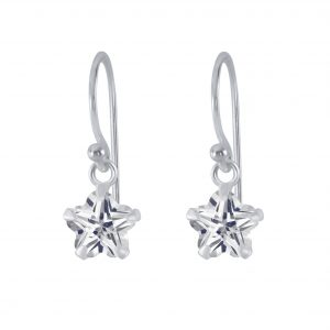 Wholesale 6mm Flower Cubic Zirconia Silver Earrings