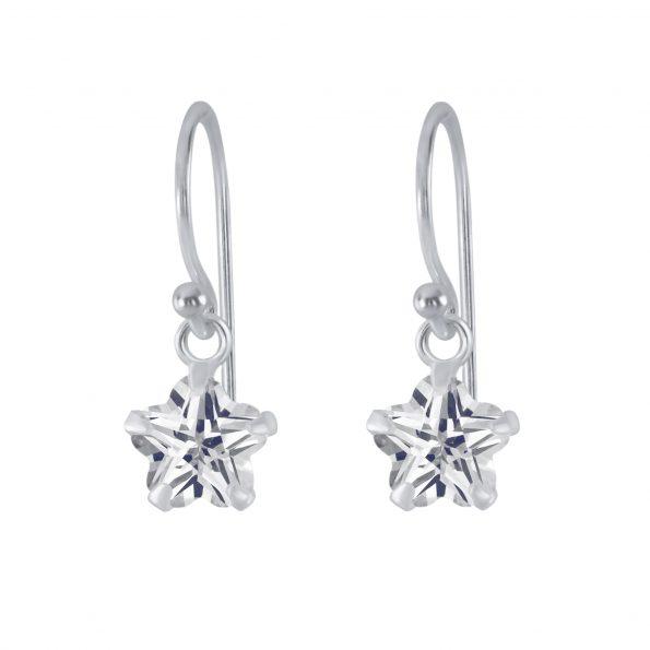 Wholesale 6mm Flower Cubic Zirconia Silver Earrings