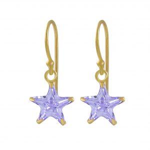 Wholesale 8mm Star Cubic Zirconia Silver  Earrings