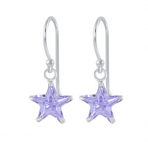 Wholesale 8mm Star Cubic Zirconia Silver Earrings
