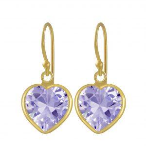 Wholesale 10mm Heart Cubic Zirconia Silver Earrings