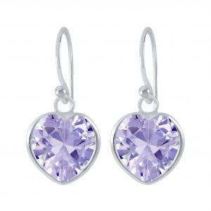 Wholesale 10mm Heart Cubic Ziconia Silver Earrings