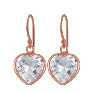 Wholesale 10mm Heart Cubic Zirconia Silver Earrings