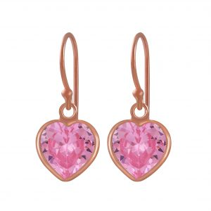 Wholesale 8mm Heart Cubic Zirconia Silver Earrings