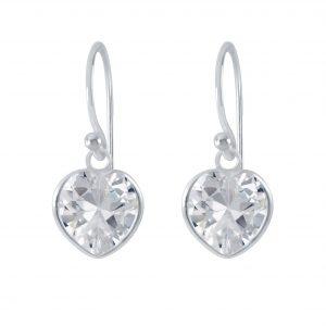 Wholesale 8mm Heart Cubic Zirconia Silver Earrings