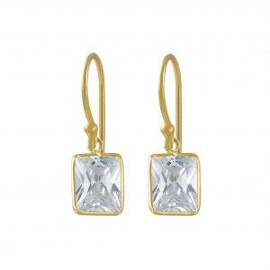 Wholesale 8x10mm Baguette Cubic Zirconia Silver Earrings