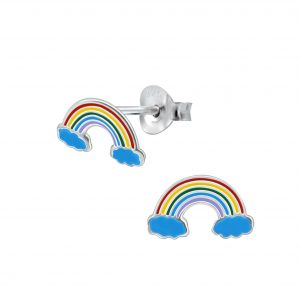 Wholesale Silver Rainbow Stud Earrings