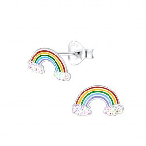 Wholesale Silver Rainbow Glitter Stud Earrings