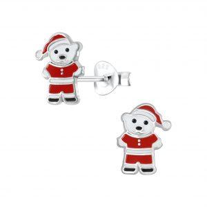 Wholesale Silver Santa Bear Stud Earrings