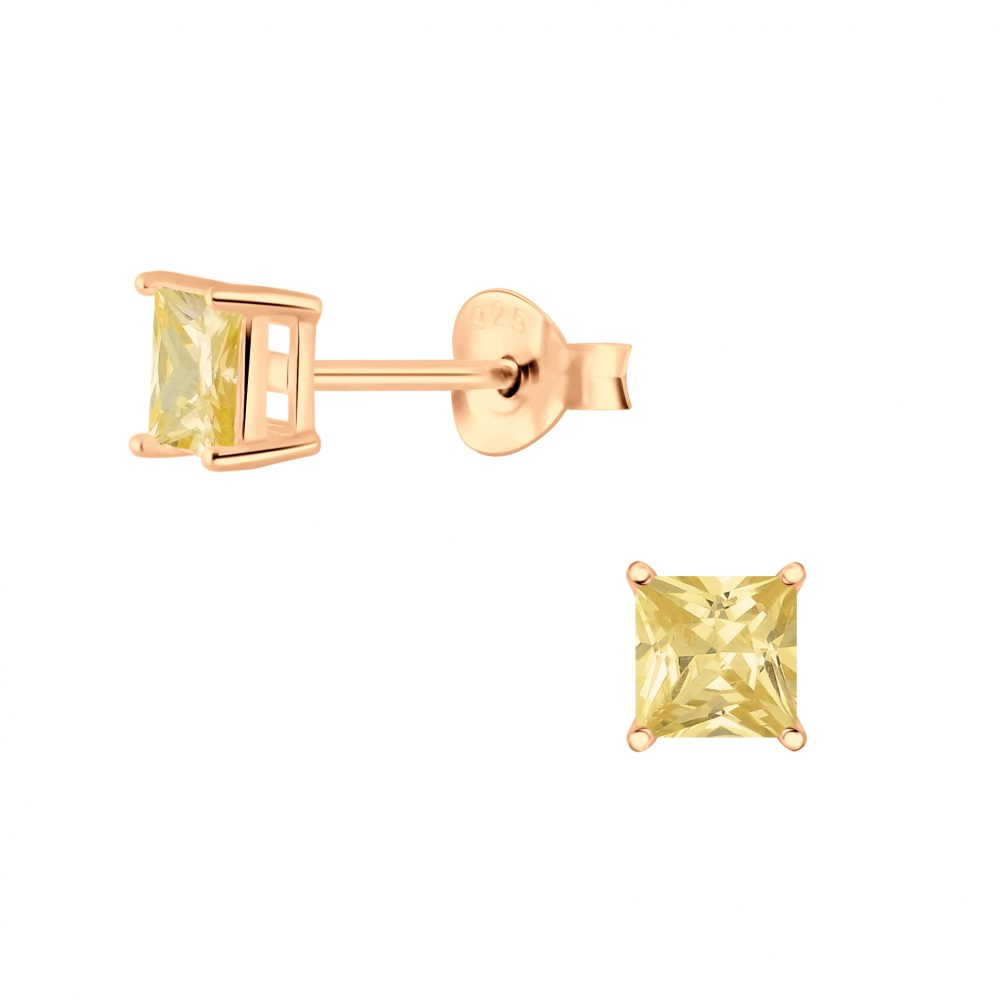 Wholesale 4mm Square Cubic Zirconia Silver Stud Earrings