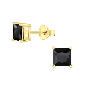 Wholesale 5mm Square Cubic Zirconia Silver Stud Earrings