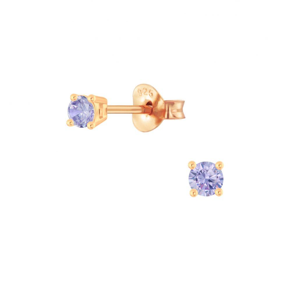 Wholesale 3mm Round Cubic Zirconia Silver Stud Earrings