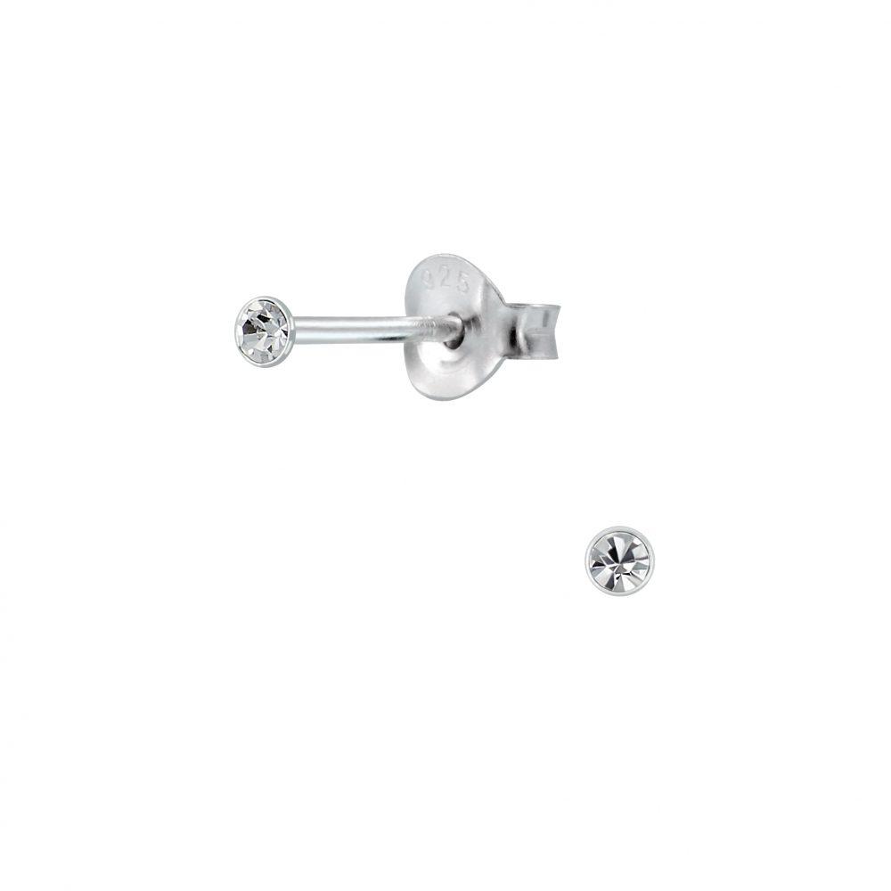 Wholesale 2mm Round Crystal Silver Stud Earrings