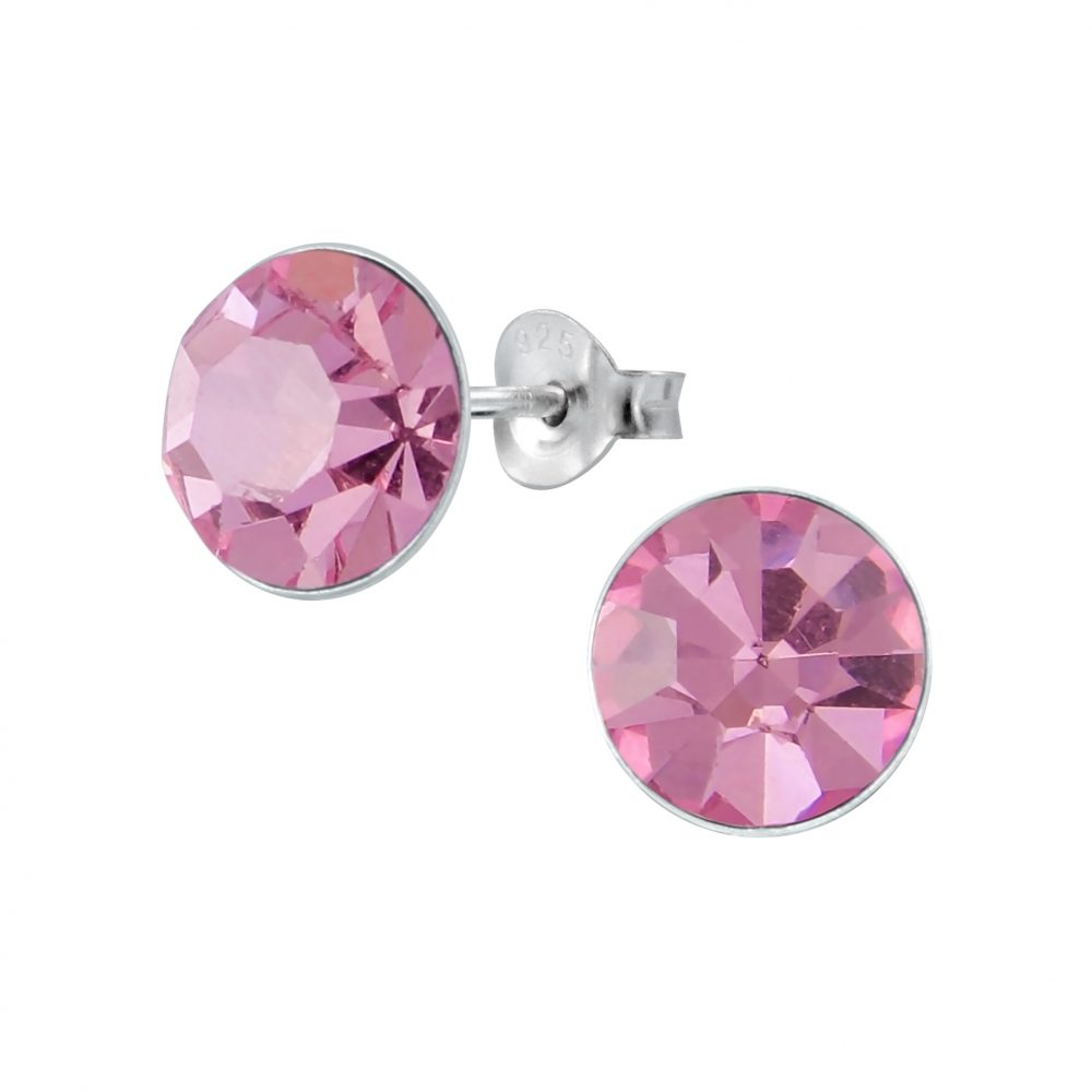 Wholesale 9mm Round Crystal Silver Stud Earrings