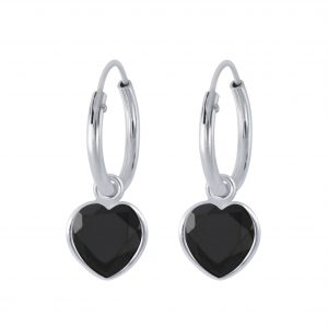 Wholesale 6mm Heart Cubic Zirconia Silver Charm Hoop Earrings