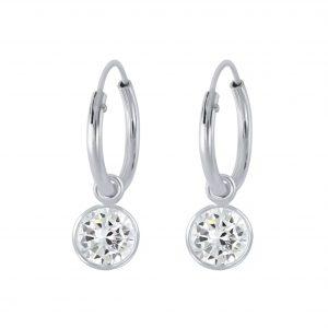 Wholesale 5mm Round Cubic Zirconia Silver Charm Hoop Earrings