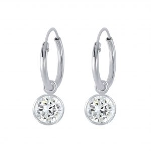 Wholesale 6mm Round Cubic Zirconia Silver Charm Hoop Earrings