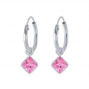 Wholesale 4mm Square Cubic Zirconia Silver Charm Hoop Earrings