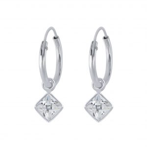 Wholesale 4mm Square Cubic Zirconia Silver Charm Hoop Earrings