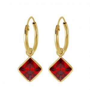 Wholesale 6mm Square Cubic Zirconia Silver Charm Hoop Earrings