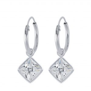 Wholesale 6mm Square Cubic Zirconia Silver Charm Hoop Earrings