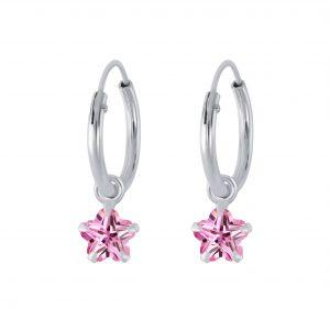 Wholesale 4mm Flower Cubic Zirconia Silver Charm Hoop Earrings