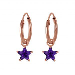 Wholesale 4mm Star Cubic Zirconia Silver Charm Hoop Earrings