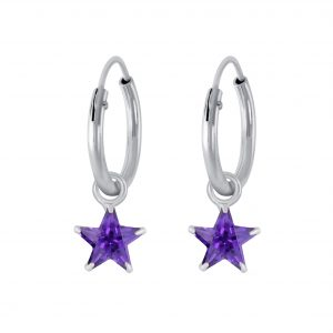 Wholesale 4mm Star Cubic Zirconia Silver Charm Hoop Earrings