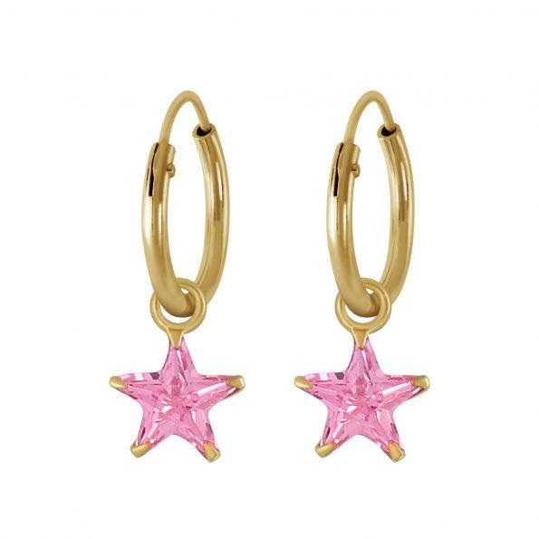 Wholesale 6mm Star Cubic Zirconia Silver Charm Hoop Earrings