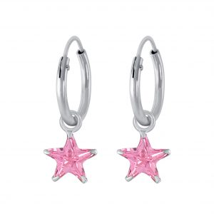 Wholesale 6mm Star Cubic Zirconia Silver Charm Hoop Earrings