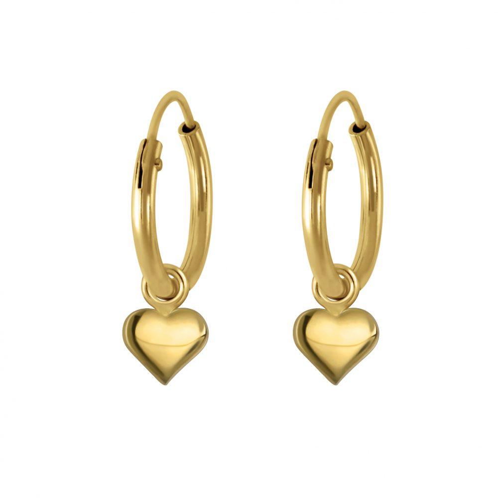 Wholesale Silver Heart Charm Hoop Earrings